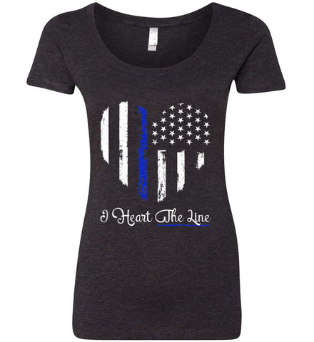 I Heart the Blue Line. Pro-Police. Women's: Next Level Ladies' Triblend Scoop.