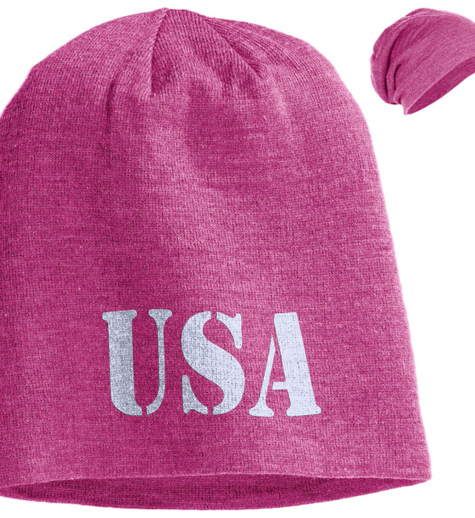 USA Patriot Hat District Slouch Beanie. (Embroidered)-2