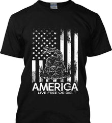 America. Live Free or Die. Don't Tread on Me. White Print. Gildan Tall Ultra Cotton T-Shirt.