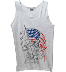 Soldier Flag Design. Black Print. Gildan 100% Cotton Tank Top.