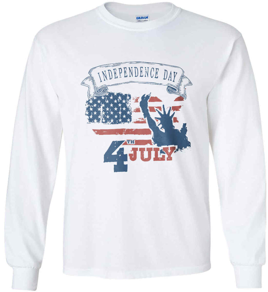 4th of July. Faded Grunge. Statue of Liberty. Gildan Ultra Cotton Long Sleeve Shirt.-1