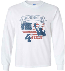 4th of July. Faded Grunge. Statue of Liberty. Gildan Ultra Cotton Long Sleeve Shirt.