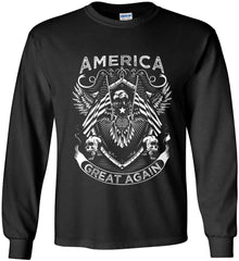 America. Great Again. White Print. Gildan Ultra Cotton Long Sleeve Shirt.