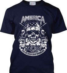 America. 2nd Amendment Patriots. White Print. Port & Co. Made in the USA T-Shirt.