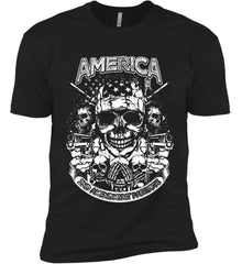 America. 2nd Amendment Patriots. White Print. Next Level Premium Short Sleeve T-Shirt.
