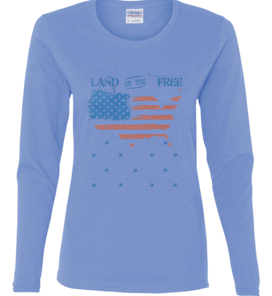 Land of the Free. Women's: Gildan Ladies Cotton Long Sleeve Shirt.-3