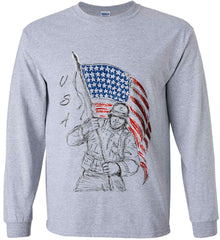 Soldier Flag Design. Black Print. Gildan Ultra Cotton Long Sleeve Shirt.