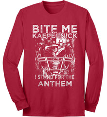 Kaepernick. I Stand for the Anthem. White Print. Port & Co. Long Sleeve Shirt. Made in the USA..