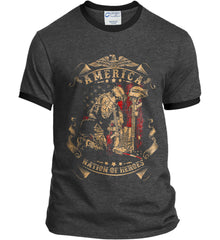 America A Nation of Heroes. Kneeling Soldier. Port and Company Ringer Tee.
