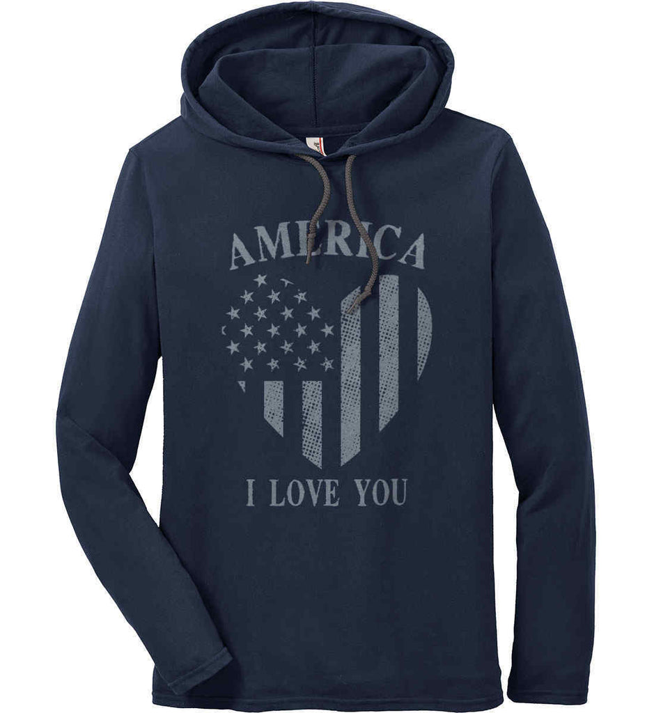America I Love You Anvil Long Sleeve T-Shirt Hoodie.-3