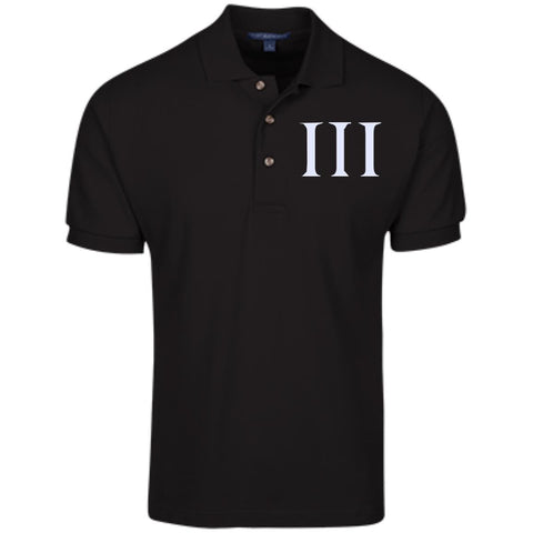Three Percent Symbol. White. Port Authority Cotton Pique Knit Polo. (Embroidered)