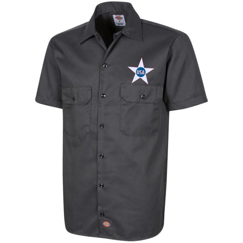 USA. Inside Star. Red, White and Blue. Dickies Men's Short Sleeve Workshirt. (Embroidered)