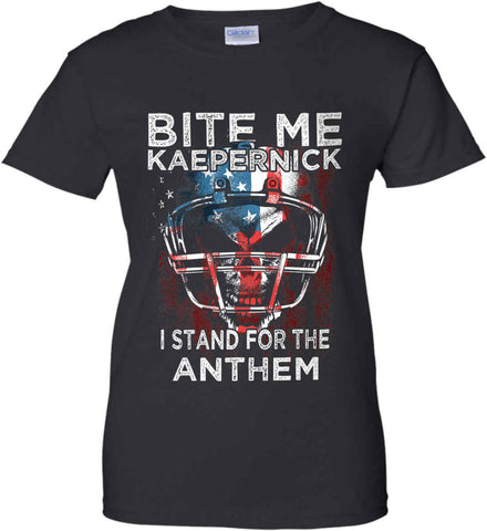 Kaepernick. I Stand for the Anthem. Women's: Gildan Ladies' 100% Cotton T-Shirt.