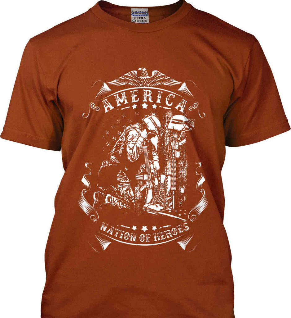 America A Nation of Heroes. Kneeling Soldier. White Print. Gildan Ultra Cotton T-Shirt.-11
