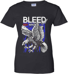 BLEED Red, White & Blue. Eagle on Flag. Women's: Gildan Ladies' 100% Cotton T-Shirt.