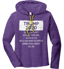 TRUMP 2020. Women's: Anvil Ladies' Long Sleeve T-Shirt Hoodie.