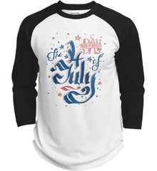 The 4th of July. Ribbon Script. Sport-Tek Polyester Game Baseball Jersey.