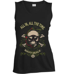 All In, All The Time. Navy Seals. Women's: Sport-Tek Ladies' Sleeveless Moisture Absorbing V-Neck.