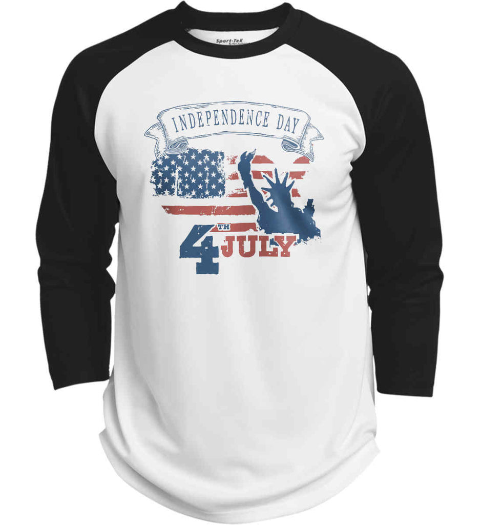 4th of July. Faded Grunge. Statue of Liberty. Sport-Tek Polyester Game Baseball Jersey.-2