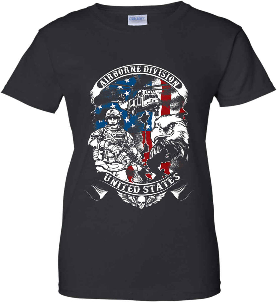 Airborne Division. United States. Women's: Gildan Ladies' 100% Cotton T-Shirt.-1