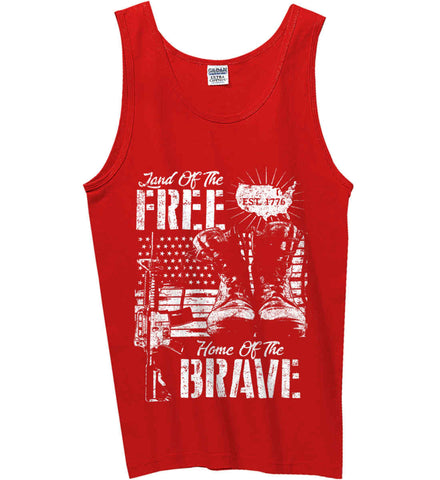 Land Of The Free. Home Of The Brave. 1776. White Print. Gildan 100% Cotton Tank Top.