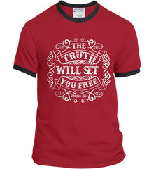 The Truth Shall Set You Free. Port and Company Ringer Tee.