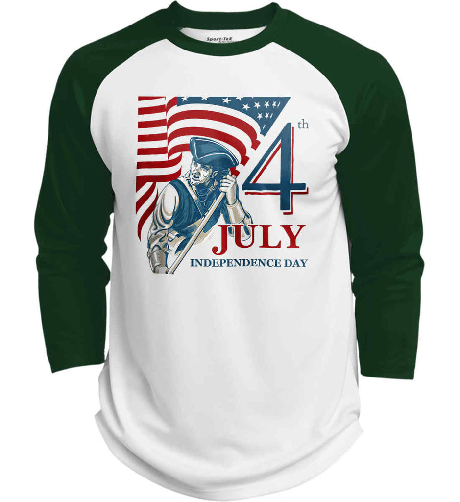 Patriot Flag. July 4th. Independence Day. Sport-Tek Polyester Game Baseball Jersey.-3