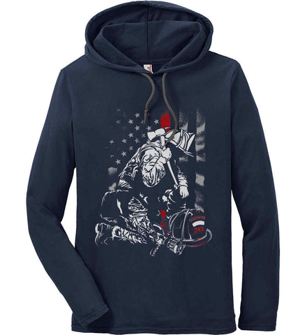 Thin Red Line. Kneeling Firefighter Ax. Anvil Long Sleeve T-Shirt Hoodie.
