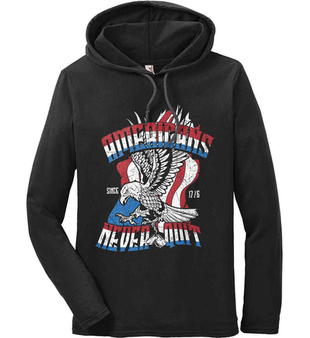 America Never Quits. Anvil Long Sleeve T-Shirt Hoodie.
