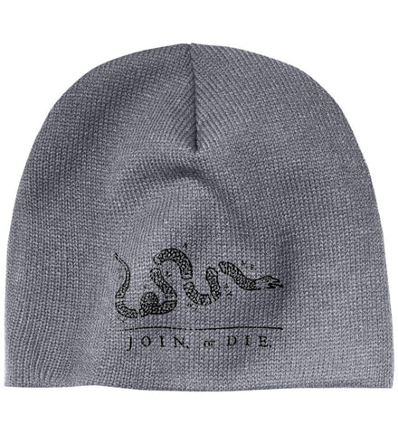 Join or Die Black Design Cap. 100% Acrylic Beanie. (Embroidered)