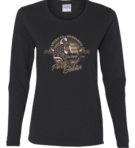 American Bombshell. Women's: Gildan Ladies Cotton Long Sleeve Shirt.