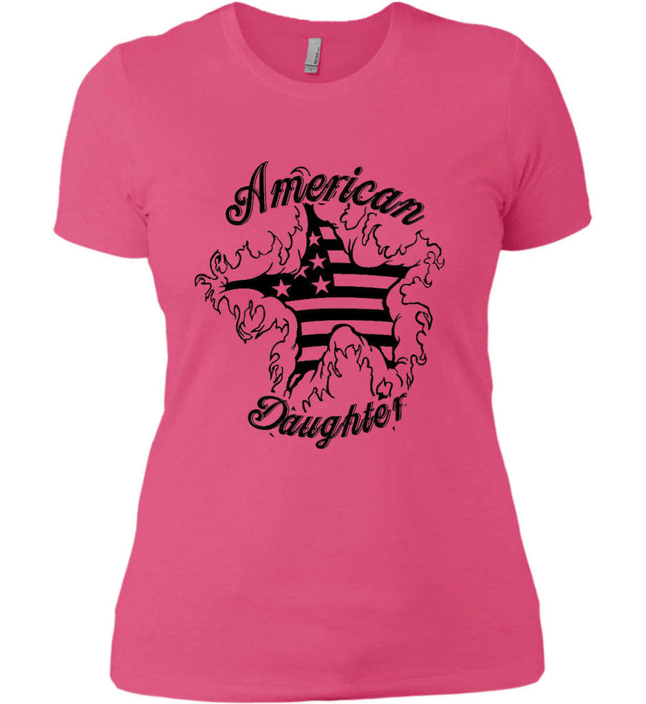 American Daughter. Women's Patriot Design. Women's: Next Level Ladies' Boyfriend (Girly) T-Shirt.-4