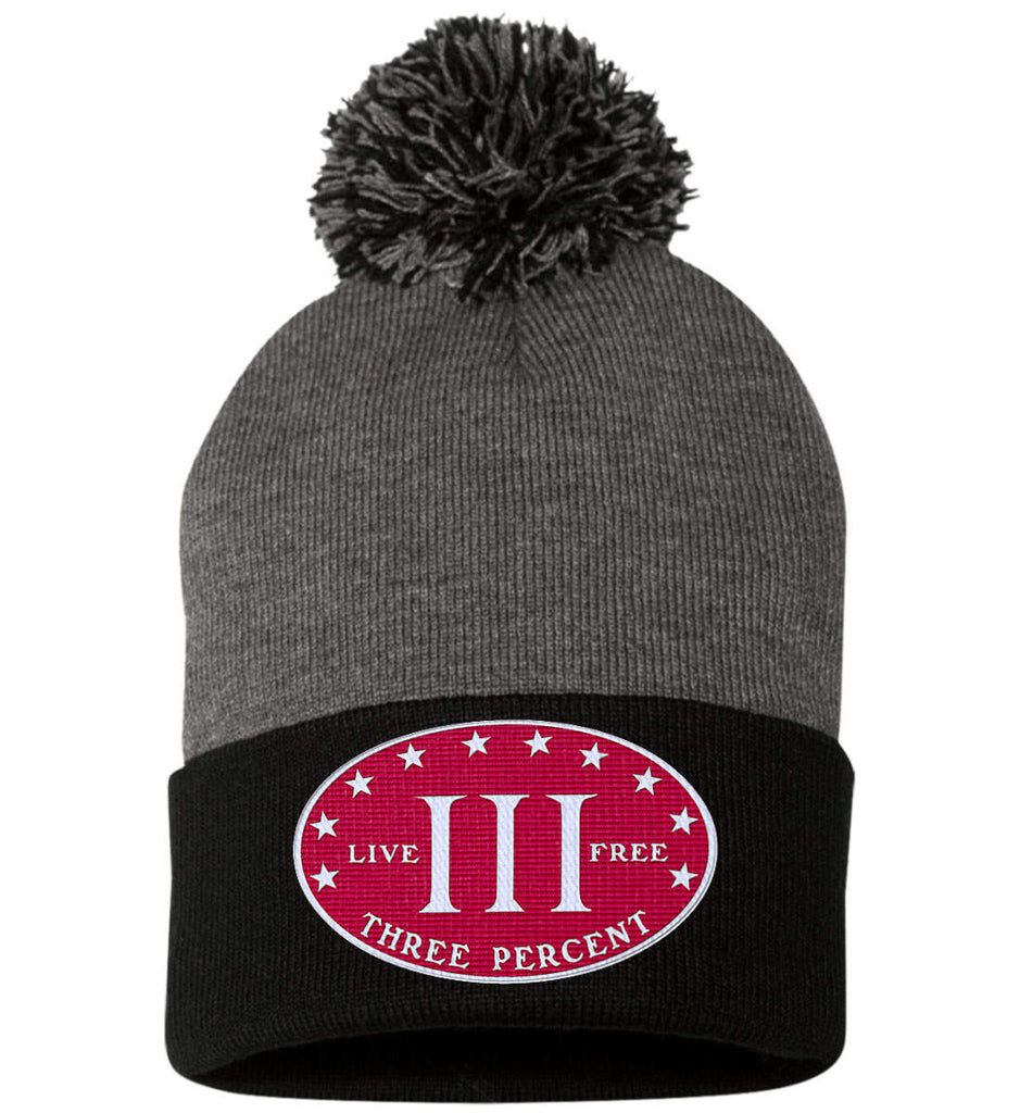 Three Percenter. Live Free. Hat. Sportsman Pom Pom Knit Cap. (Embroidered)-4