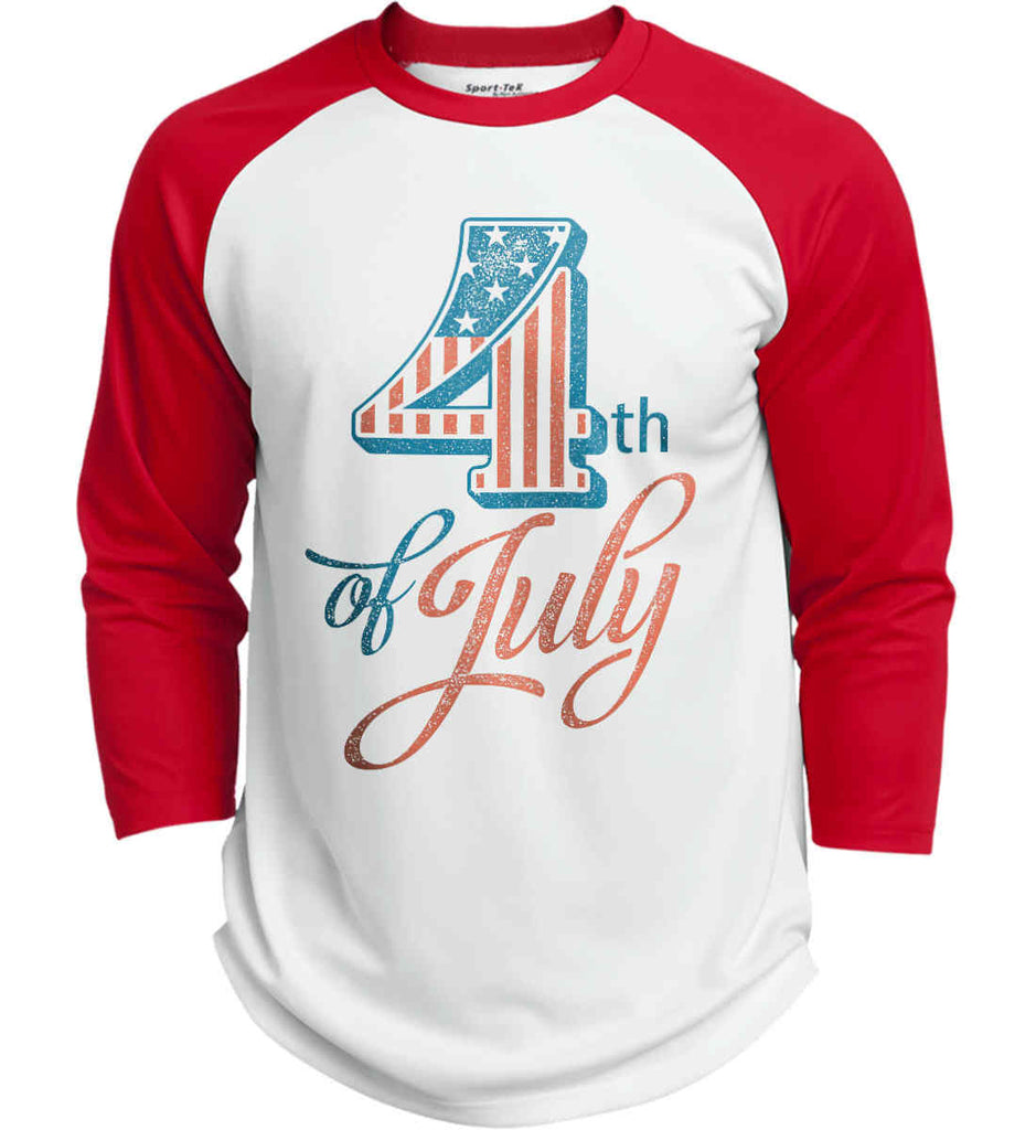 4th of July. Faded Grunge. Sport-Tek Polyester Game Baseball Jersey.-1
