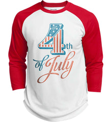 4th of July. Faded Grunge. Sport-Tek Polyester Game Baseball Jersey.