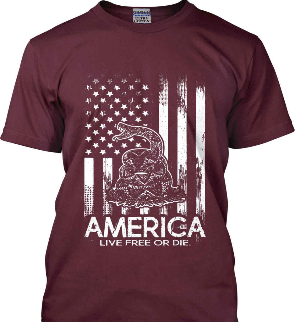 America. Live Free or Die. Don't Tread on Me. White Print. Gildan Ultra Cotton T-Shirt.-8