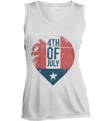 4th of July with Star. Women's: Sport-Tek Ladies' Sleeveless Moisture Absorbing V-Neck.