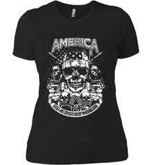 America. 2nd Amendment Patriots. White Print. Women's: Next Level Ladies' Boyfriend (Girly) T-Shirt.