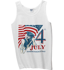 Patriot Flag. July 4th. Independence Day. Gildan 100% Cotton Tank Top.