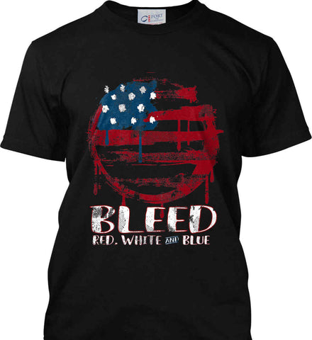 BLEED Red, White and Blue Circle Flag. Port & Co. Made in the USA T-Shirt.