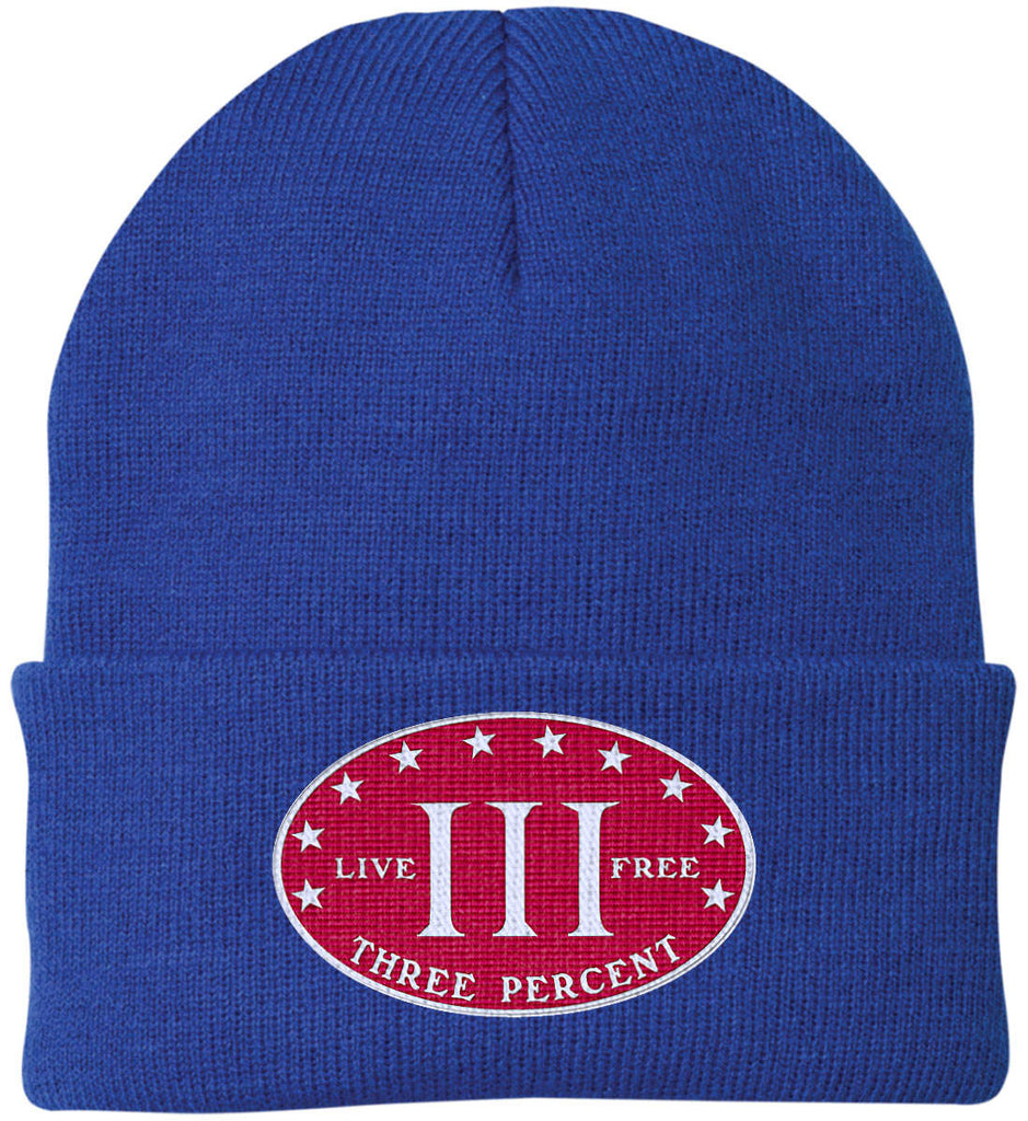 Three Percenter. Live Free. Hat. Port Authority Knit Cap. (Embroidered)-7