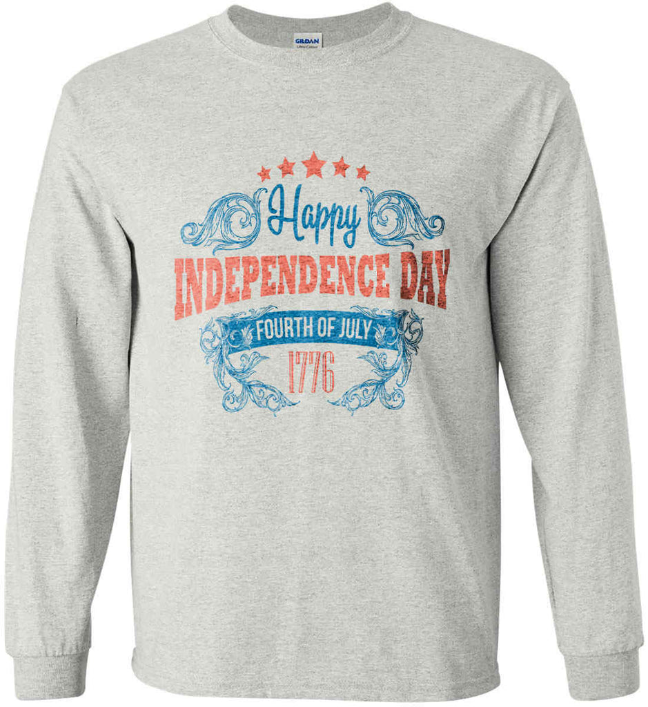 Happy Independence Day. Fourth of July. 1776. Gildan Ultra Cotton Long Sleeve Shirt.-3
