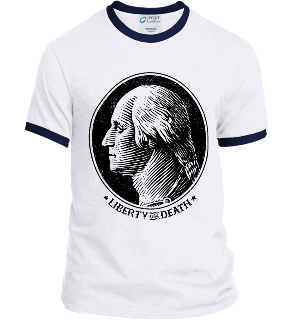 George Washington Liberty or Death. Black Print Port and Company Ringer Tee.-3