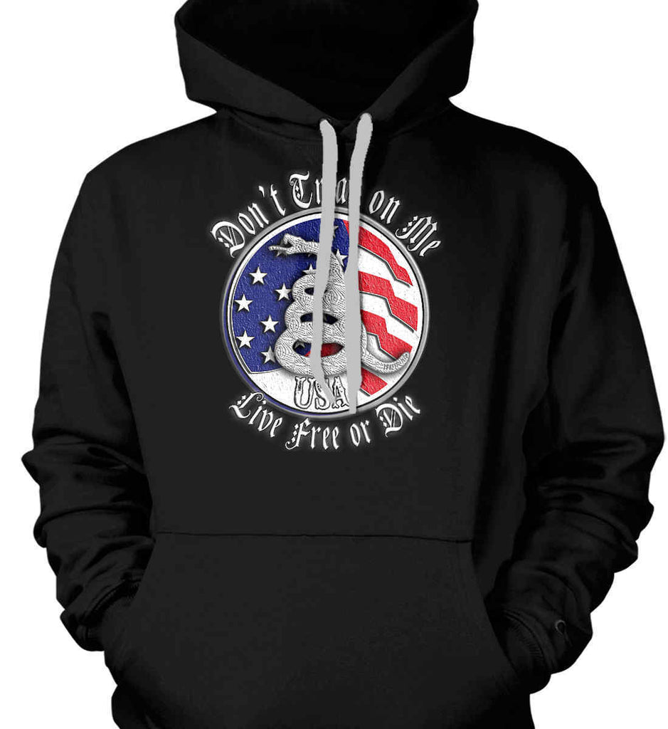Don't Tread on Me: Red, White and Blue. Live Free or Die. Gildan Heavyweight Pullover Fleece Sweatshirt.-1