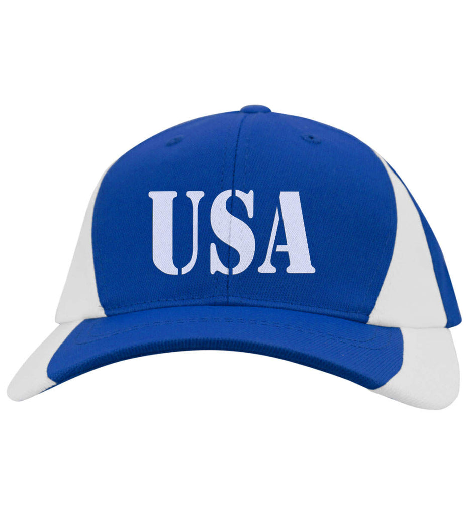 USA Patriot Hat Sport-Tek Mid-Profile Colorblock Cap. (Embroidered)-8