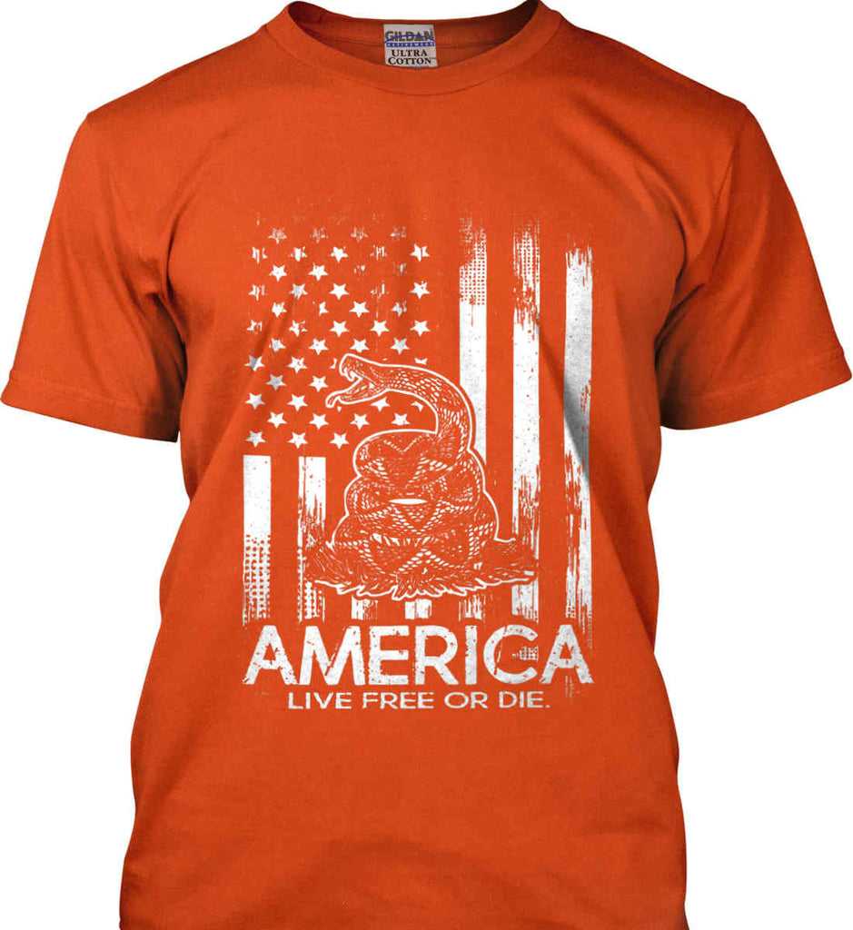 America. Live Free or Die. Don't Tread on Me. White Print. Gildan Ultra Cotton T-Shirt.-9