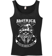 Did you America Today. 1776. Live Free or Die. Skull. White Print. Women's: Anvil Ladies' 100% Ringspun Cotton Tank Top.