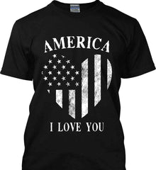 America I Love You White Print. Gildan Tall Ultra Cotton T-Shirt.