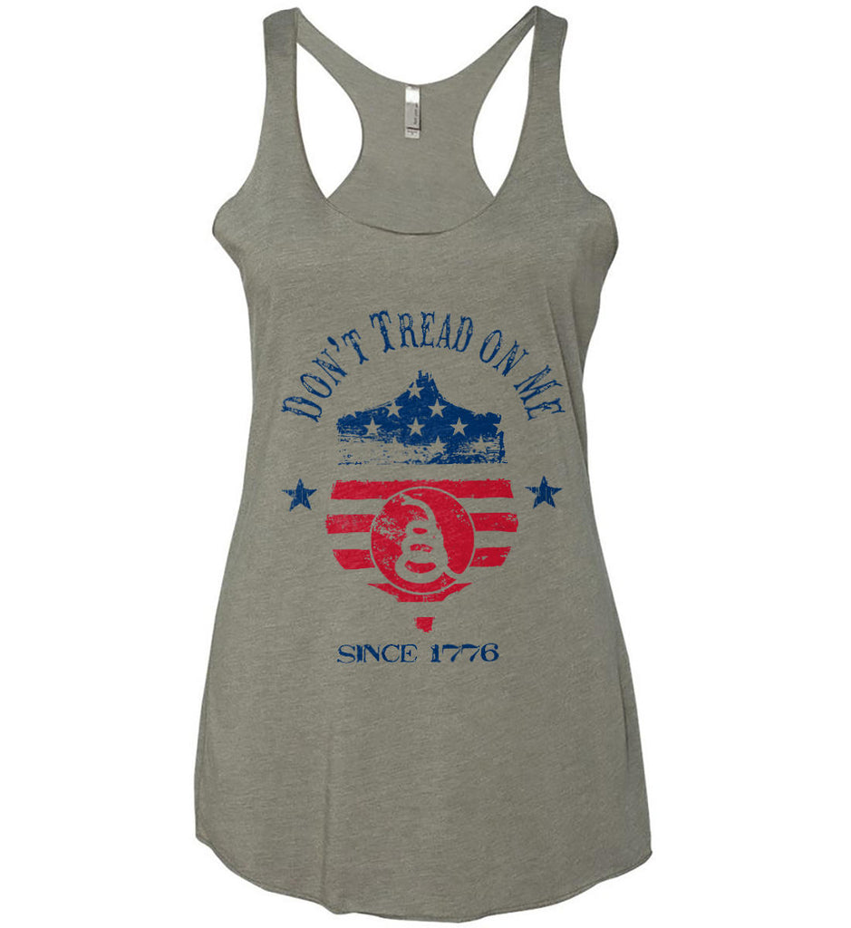 Don't Tread on Me. Snake on Shield. Red, White and Blue. Women's: Next Level Ladies Ideal Racerback Tank.-1