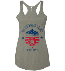 Don't Tread on Me. Snake on Shield. Red, White and Blue. Women's: Next Level Ladies Ideal Racerback Tank.